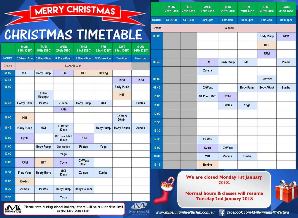 Christmas timetable website 2017