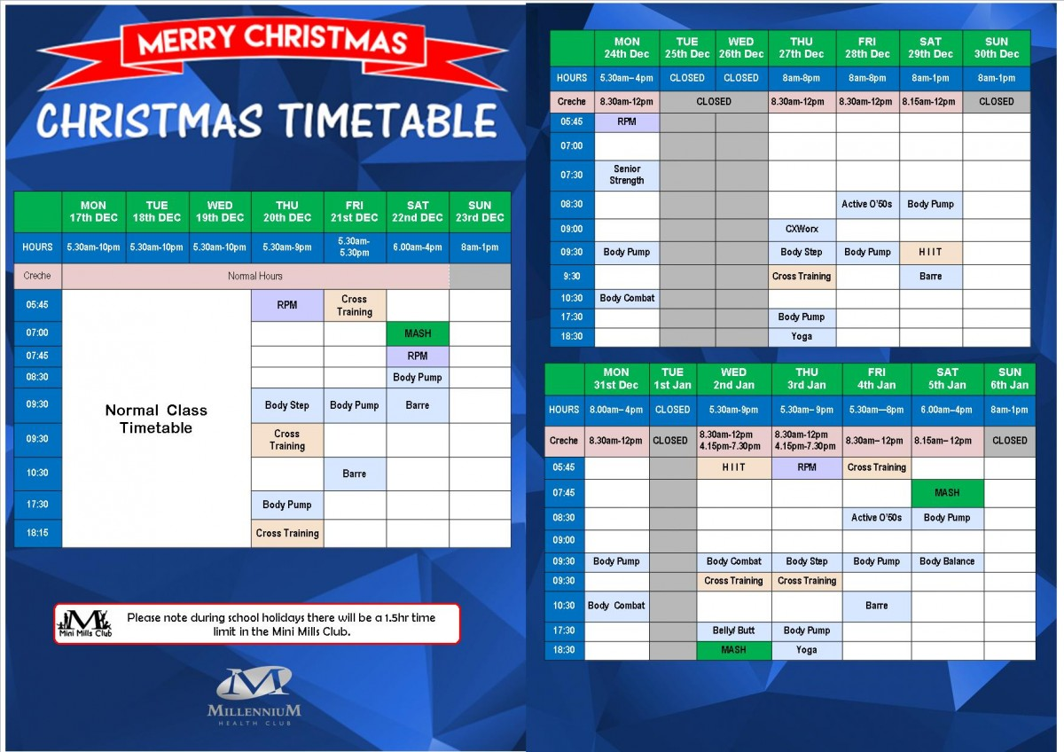 Charmy 2018 Xmas Timetable WEBSITE ONLY