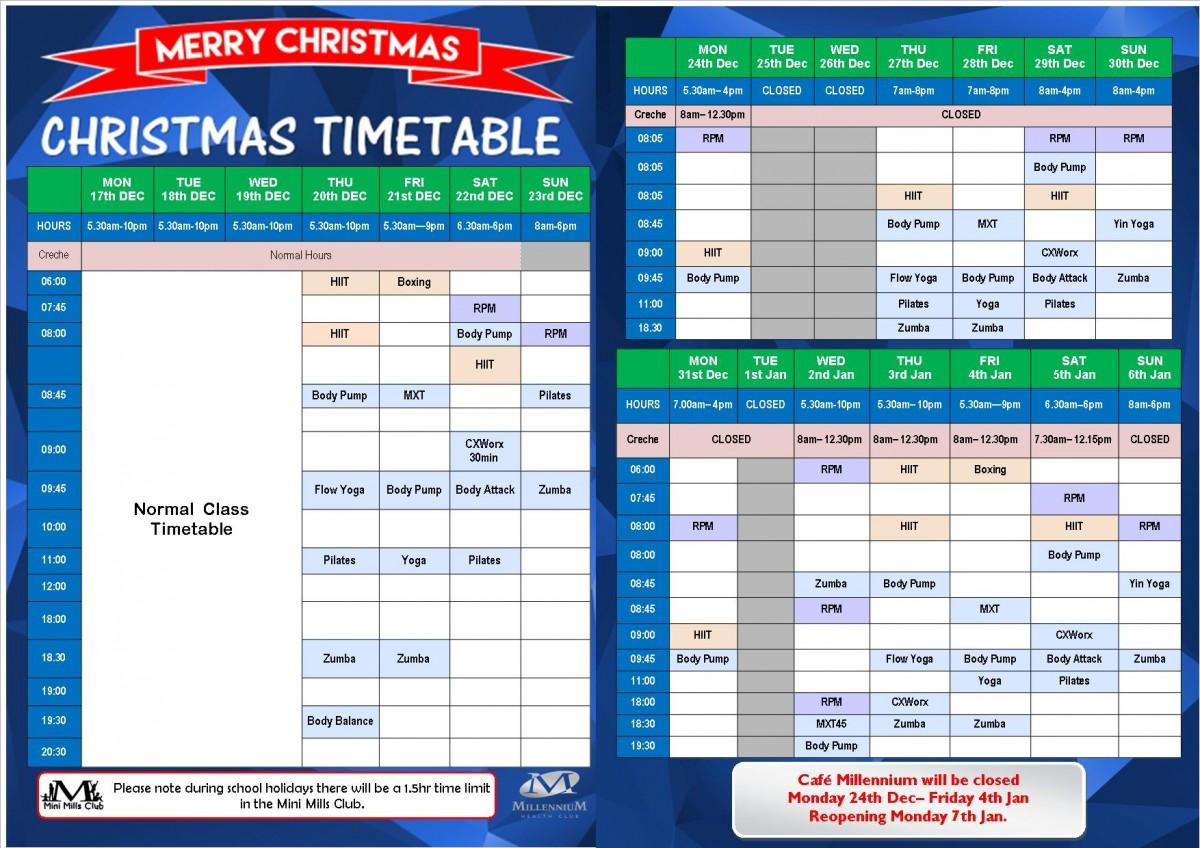 Waitara 2018 Xmas Timetable WEBSITE ONLY