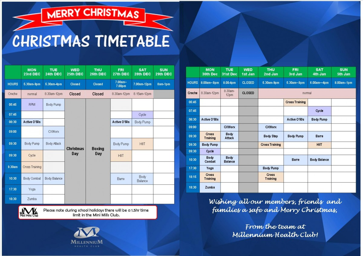 Charmy Xmas Timetable WEBSITE ONLY 2019