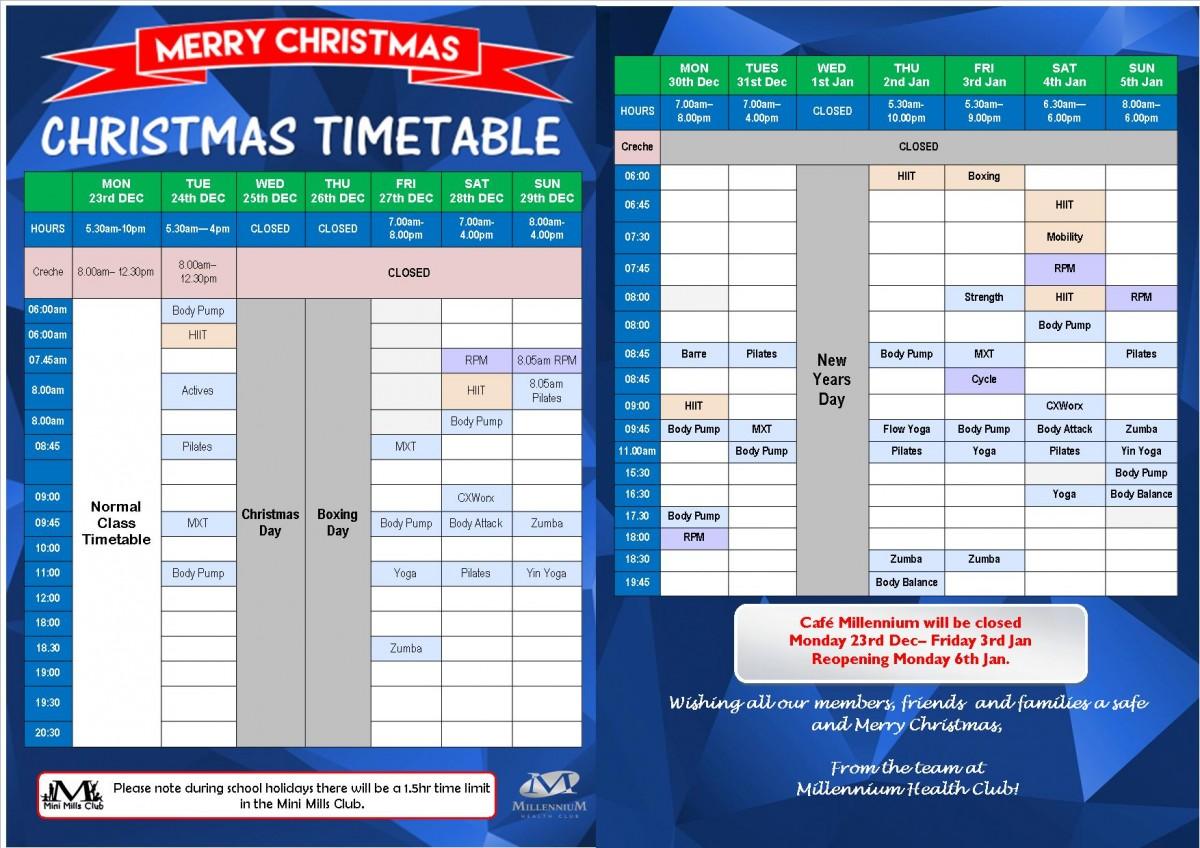 Waitara Xmas Timetable WEBSITE ONLY 2019
